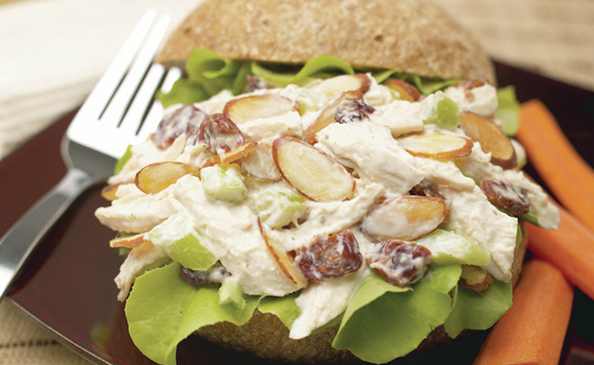 Roasted chicken salad with almonds & cherries