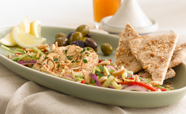 Almond Hummus with Vegetable Slaw