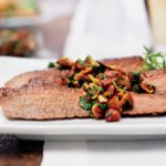 Flank steak with almond chimichurri