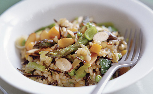 Wild Rice Risotto With Almonds and Spring Vegetables