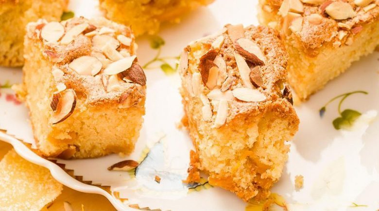 Almond cake with mango and crystaliized ginger by Chef Chef Oonagh Williams