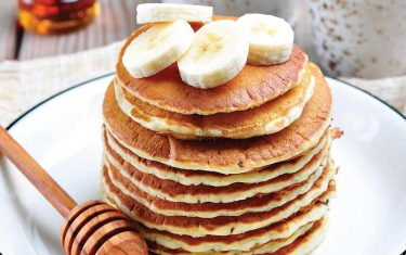 Banana nut pancakes made with almond flour