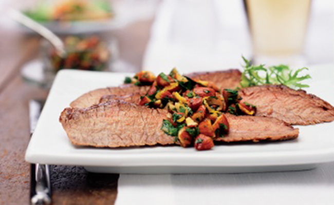 Flank steak with almond chimichurri