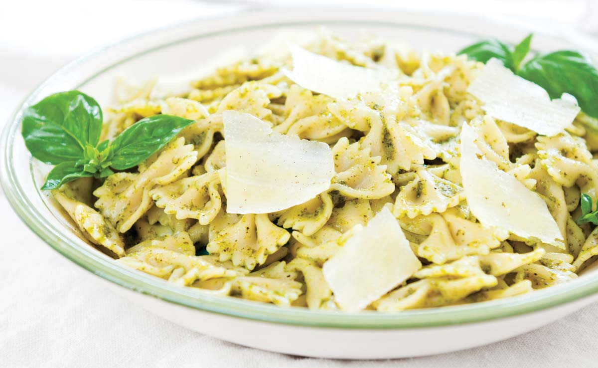 Almond pesto farfalle