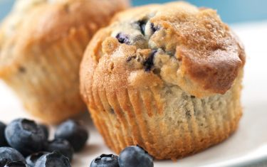 Photo of blueberry lemon muffins on plate