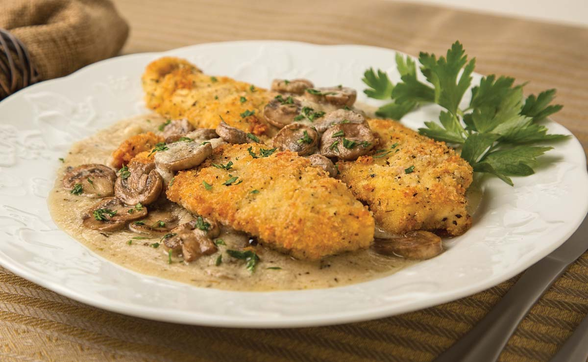 Crispy Italian chicken with marsala sauce
