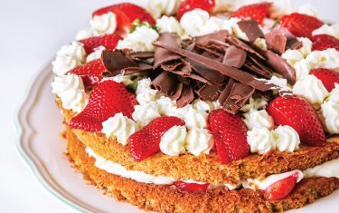 Almond cake with strawberries by Chef Oonagh Williams
