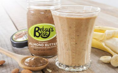 Betsy's Best almond butter banana nut bread smoothie