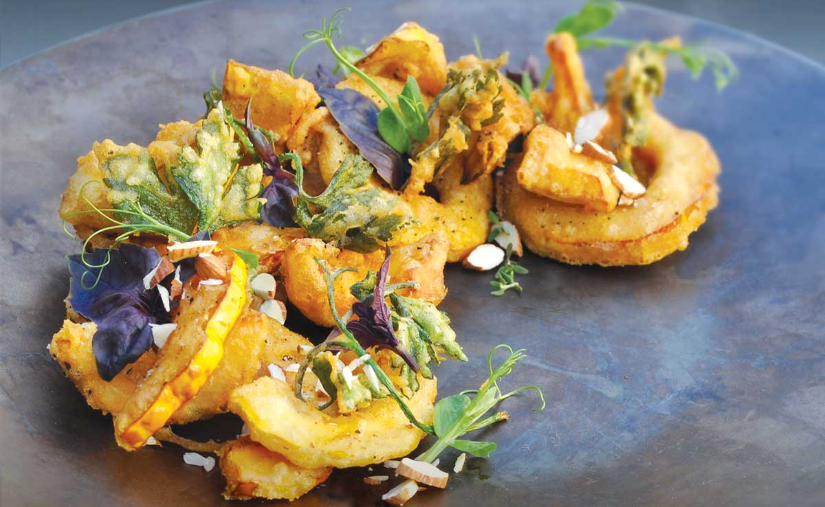 Almond Flour Tempura Squash with Crispy Herbs, Accented with Almonds and Coffee
